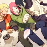 1girl 2boys arm_around_waist biting_clothes cherry_blossoms clothes_in_mouth couple dutch_angle facial_mark forehead_mark green_eyes grin hair_over_one_eye haruno_sakura husband_and_wife jiraiya_(cosplay) long_sleeves mouth_hold multiple_boys naruto oba-min older one_eye_closed open_mouth orochimaru_(cosplay) petals pink_hair short_over_long_sleeves sitting smile team7 tsunade_(cosplay) uchiha_sasuke uzumaki_naruto whisker_markings