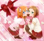 2girls angel_wings blue_eyes bow chocolate chocolate_heart green_eyes heart kira_tsubasa kneehighs kousaka_honoka loafers love_live!_school_idol_festival love_live!_school_idol_project mashiromami multiple_girls orange_hair sharing_food shoes short_hair side_ponytail skirt squatting striped striped_legwear thigh-highs valentine vertical-striped_legwear vertical_stripes wings yuri