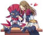 1girl :t ^_^ arm_support bandages bandaid bandaid_on_face bandaid_on_knee belt_pouch black_legwear brown_hair cake closed_eyes cravat food food_on_face glasses heart holding holding_food injury long_hair looking_to_the_side nia_(pokemon) pokemon pokemon_(creature) pokemon_(game) pokken_tournament pout red-framed_glasses red_eyes semi-rimless_glasses sitting sleeves_past_elbows sweets tears thigh-highs tm_(hanamakisan) under-rim_glasses unitard weavile white_background