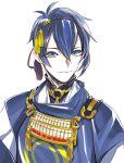 1boy blue_eyes blue_hair japanese_clothes kan male_focus mikazuki_munechika smile solo touken_ranbu upper_body