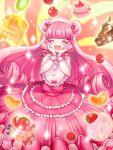 1girl cake cherry chocolate_cake closed_eyes cowboy_shot dessert double_bun dress facing_viewer food frills fruit gloves gulico_(otoca_d'or) hairband hands_on_own_face happy kiwifruit long_hair macaron mumi_(mumie) orange orange_slice otoca_d'or pancake pink_dress pink_hair raspberry solo strawberry white_gloves