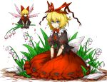 1girl black_shirt black_skirt blonde_hair blue_eyes doll_joints fairy_wings flower full_body hair_ribbon hands_on_lap holding holding_flower kan_(aaaaari35) lily_of_the_valley medicine_melancholy poison red_shirt red_skirt ribbon ribbon-trimmed_clothes ribbon-trimmed_skirt ribbon_trim shiny shiny_hair shirt short_hair short_sleeves simple_background sitting skirt solo su-san touhou white_background wings