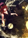 1girl alternate_costume bangs black_dress collarbone commentary dog dress eyebrows eyebrows_visible_through_hair fire from_above hat hecatia_lapislazuli highres hug_(artist) looking_at_viewer polos_crown red_eyes redhead sleeveless sleeveless_dress solo sphere touhou