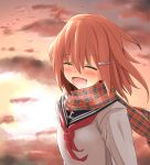 1girl :d ^_^ blush brown_hair closed_eyes clouds commentary_request fang hair_ornament hairclip ikazuchi_(kantai_collection) kantai_collection neckerchief open_mouth outdoors plaid plaid_scarf scarf school_uniform serafuku short_hair smile solo sunset takemitsu-zamurai translation_request