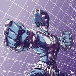 clenched_hands fighting_stance fish.boy foreshortening halftone halftone_background highres jojo_no_kimyou_na_bouken no_humans open_mouth solo spikes stand_(jojo) sticky_fingers_(stand) zipper