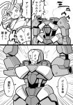 anpanman bifidus check_translation comic commentary_request echo_turbine gundam gundam_tekketsu_no_orphans mobile_suit monochrome parody rouei_(mobile_suit) smoke tearing_up throwing translation_request twintails
