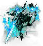 alpha_transparency armor blue_fire enemy_nagaeyari fire glowing glowing_eyes ishitsu_kenzou japanese_armor jumping kebiishi_(touken_ranbu) official_art skeleton solo sword touken_ranbu weapon