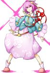 1girl hairband highres kan_(aaaaari35) komeiji_satori letters open_mouth pink_eyes pink_hair short_hair solo third_eye touhou wide_sleeves