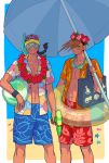 2boys bag baseball_cap beach black_hair braid brothers brown_eyes brown_hair burakku_mutou clam dumpling goggles hat hawaiian_shirt highres innertube lei looking_at_viewer male_focus multiple_boys open_clothes open_shirt shirt shorts siblings snorkel starfish street_fighter sunglasses sunglasses_on_head super_soaker swim_trunks twins water_gun yang_lee yun_lee