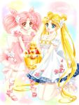 2girls :d bare_shoulders bishoujo_senshi_sailor_moon blonde_hair blue_eyes bow chibi_usa double_bun dress facial_mark flower forehead_mark hair_flower hair_ornament hairpin kneeling leg_ribbon long_hair looking_at_viewer multicolored_background multiple_girls open_mouth pink_bow pink_hair pink_ribbon pink_shoes pink_skirt princess_serenity red_eyes ribbon seihai_(sailor_moon) shirataki_kaiseki shoes short_hair signature skirt small_lady_serenity smile standing strapless strapless_dress tsukino_usagi twintails white_bow white_ribbon white_shoes white_skirt