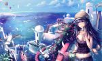 3girls 5boys aqua_eyes bare_arms belt bird black_hair blue_sky breasts bush chair cleavage clouds collarbone expressionless feathers flower hat highres horizon hot_air_balloon ice_cream_cone lips long_hair looking_to_the_side midriff multiple_boys multiple_girls ocean original price_tag rolling_suitcase seagull seaside ship sky solo_focus t.m_(aqua6233) table tank_top
