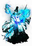 1boy alpha_transparency blue_fire enemy_naginata fire full_body glowing glowing_eye hat ishitsu_kenzou japanese_clothes kebiishi_(touken_ranbu) male_focus naginata official_art polearm skeleton solo touken_ranbu transparent_background weapon