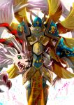 angel angel_wings armor armored_boots backlighting boots breastplate claws digimon dragon feathered_wings full_armor gauntlets golden_wings green_eyes helmet horns magnadramon multiple_wings no_humans pauldrons seraphimon sharp_teeth snout teeth white_wings wings winni