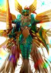 angel angel_wings armor artificial_wings backlighting breastplate covered_eyes digimon full_armor gauntlets golden_wings helmet helmet_over_eyes knight midriff navel no_humans ophanimon pauldrons polearm shield spear weapon white_wings wings winni