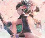1girl armor black_hair blackrabbitsoul brown_eyes comb dual_persona flower hair_flower hair_ornament japanese_armor japanese_clothes katana kimono momohime obi oboro_muramasa sash sheath sode solo sword weapon