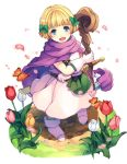 1girl :d bianca's_daughter blonde_hair blue_eyes bow butterfly cape dragon_quest dragon_quest_v flower gloves hair_bow hiyunagi long_hair open_mouth petals short_hair smile solo staff sword weapon white_gloves