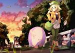 1girl absurdres arm_behind_back audino bag bel_(pokemon) beret blonde_hair blurry bow brown_shoes bush closed_eyes closed_mouth clouds collarbone depth_of_field evening fence floating glasses grass green_eyes green_hat green_pants hand_up handbag hat hat_bow highres jacket light long_sleeves looking_at_viewer musharna open_clothes open_jacket orange_jacket outdoors pants path petals plant pokemon pokemon_(creature) pokemon_(game) pokemon_bw2 pokemon_center red-framed_glasses road scenery screw semi-rimless_glasses shirt shoes smile smoke sunset swablu t-shirt toriatamamomiji town tree under-rim_glasses walking white_bow white_shirt window wooden_fence wool