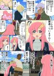 amano_jaku_(kyabosean) black_hair blonde_hair blue_eyes brown_hair comic commentary dark_skin gundam gundam_seed gundam_tekketsu_no_orphans hat highres lacus_clyne mask merribit_stapleton nadi_yukinojou_kassapa orga_itsuka pink_hair ride_mass seiyuu_connection short_hair tanaka_rie translated white_hair