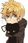 1boy artist_request black_coat blonde_hair blue_eyes blush character_doll chibi crying heartless kingdom_hearts male_focus object_hug pout roxas shadow_(kingdom_hearts) solo tears translation_request