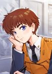 1girl blue_eyes brown_hair chin_rest eyebrows flat_chest izumi_noa kidou_keisatsu_patlabor light_smile looking_at_viewer necktie orz_(orz57) pen police short_hair smile solo uniform vest