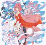 1girl bare_shoulders black_legwear blissey breasts center_opening chandelure commentary_request detached_sleeves elbow_gloves fingerless_gloves gloves guilty_crown hair_ornament hairclip looking_at_viewer marker_(medium) munna pink_hair poke_ball pokemon pokemon_(creature) red_eyes sarina_(tosiyukiryousuke) solo sylveon togetic traditional_media twintails yuzuriha_inori