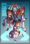4girls cannons eyepatch fingerless_gloves gloves gundam gundam_age gundam_age-2 gundam_age-2_darkhound gundam_age-2_double_bullet hair_ornament hairband hook king_of_unlucky lance mecha_musume multiple_girls multiple_persona orange_hair personification polearm red_eyes short_hair sitting skull_hair_ornament weapon winged_hairband