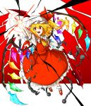 1girl ascot ball_and_chain_restraint blonde_hair bow broken broken_chain chain collar crazy_eyes energy fangs flandre_scarlet frilled_collar frilled_skirt frills full_body hand_up hat hat_bow highres kan_(aaaaari35) laevatein mob_cap open_mouth red_background red_shoes red_skirt red_vest shattering shiny shiny_hair shoes short_hair side_ponytail skirt skirt_set smile solo teeth tongue touhou two-tone_background white_background white_legwear wings