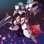 aqua_eyes charging colored_shadow different_shadow energy_cannon glowing glowing_eyes gradient gradient_background gundam gundam_barbatos gundam_tekketsu_no_orphans joints mace mecha no_humans petals pistons sakusakusakurai shadow simple_background solo tekkaman_blade weapon