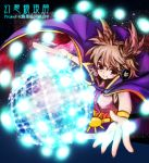 1girl brown_hair cape danmaku headphones highres moniringo ritual_baton solo spell_card touhou toyosatomimi_no_miko violet_eyes