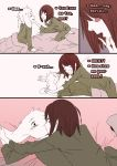1boy 4koma :d ^_^ androgynous asriel_dreemurr bed blush_stickers bossmonsterbani brown_hair chara_(undertale) closed_eyes comic english fingers_to_mouth furry glomp highres hug kiss monster_boy open_mouth pajamas pillow red_eyes smile spoilers sweatdrop undertale you_gonna_get_raped