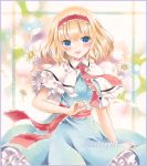 1girl alice_margatroid arm_up blonde_hair blue_dress blue_eyes blush capelet colored_pencil_(medium) daisy dress flower gradient gradient_background hairband lolita_hairband looking_at_viewer marker_(medium) open_mouth petals petticoat potto_(minntochan) puffy_short_sleeves puffy_sleeves puppet_rings purple_border ribbon sample sash short_hair short_sleeves smile solo touhou traditional_media