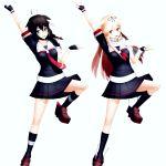 2girls black_skirt dancing highres kantai_collection long_hair mikumikudance multiple_girls remodel_(kantai_collection) shigure_(kantai_collection) sierra_(ws) skirt yuudachi_(kantai_collection)