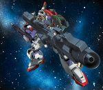 beam_cannon beam_rifle energy_gun gundam highres mecha no_humans platin_(alios) shield space star_(sky) weapon zeta_gundam zeta_gundam_(mobile_suit)