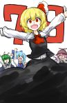 >_< >o< 4girls antennae arm_up bird_wings black_skirt black_vest blonde_hair blue_dress blue_hair bow brown_dress cape cheering cirno closed_eyes collar dress fang frilled_collar frills green_hair hair_bow hands_up hat kan_(aaaaari35) long_skirt looking_at_viewer multiple_girls mystia_lorelei open_mouth outstretched_arms pink_hair red_eyes ribbon rumia shiny shiny_hair shirt simple_background sketch skirt skirt_set sleeveless sleeveless_dress smile team_9 teeth touhou white_background white_shirt wings wriggle_nightbug