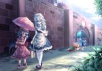 4girls adapted_costume apron bag bat_wings beret black_shoes blood blood_writing blue_dress blue_eyes blue_hair boots bow braid brick_wall bush cirno day dress expressionless frilled_dress frills gate green_skirt hair_bow hat hat_bow holding holding_umbrella hong_meiling ice ice_wings izayoi_sakuya knife_in_head legs list long_hair long_skirt looking_at_another looking_down maid maid_apron maid_headdress mob_cap multiple_girls pad parasol path pink_boots red_eyes redhead remilia_scarlet road scarlet_devil_mansion shirt shoe_bow shoes shopping_bag short_dress short_hair short_sleeves side_slit silver_hair skirt sleeveless sleeveless_dress small_breasts sunlight sweatdrop t.m_(aqua6233) thighs top-down_bottom-up touhou transparent_wings tree twin_braids umbrella very_long_hair walking white_legwear white_shirt wings