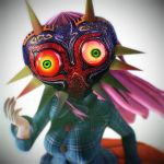 1girl 3d artist_request breasts commentary_request female highres large_breasts long_hair mask mikumikudance solo the_legend_of_zelda the_legend_of_zelda:_majora's_mask touhou
