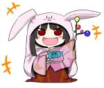 +++ 1girl :d animal_hood black_hair blush branch bunny_hood chibi commentary_request gensei_ruri handheld_game_console hime_cut himouto!_umaru-chan hood houraisan_kaguya japanese_clothes jeweled_branch_of_hourai long_hair long_sleeves looking_at_viewer open_mouth parody playstation_portable red_eyes smile solo touhou wide_sleeves