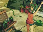 1girl bicycle chair flower goggles goggles_on_head green_eyes green_hair gumi headphones headset highres horuda hose radio short_hair shorts smile solo stretch vocaloid watering_can