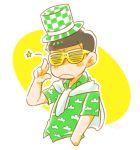 1boy :< cardigan green_shirt hand_in_pocket hat male_focus matsuno_choromatsu osomatsu-kun osomatsu-san patterned patterned_clothing salute shirt shutter_shades solo star top_hat two-finger_salute upper_body