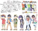 6+boys alternate_costume animal animal_on_head backwards_hat baseball_cap book boots brothers capri_pants cat esper_nyanko game_console gamecube gamecube_controller hanakuso hands_in_pockets hat hawaiian_shirt heart heart_in_mouth hood hoodie jacket leather leather_jacket matsuno_choromatsu matsuno_ichimatsu matsuno_juushimatsu matsuno_karamatsu matsuno_osomatsu matsuno_todomatsu multiple_boys osomatsu-kun osomatsu-san pants pants_rolled_up polo_shirt sandals sextuplets shark_costume shirt short_shorts short_sleeves shorts siblings smile striped striped_pants sun_hat sunglasses super_smash_bros. swim_briefs swimsuit t-shirt tan tank_top