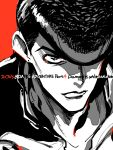 1boy copyright_name earrings face hair_over_one_eye higashikata_jousuke jewelry jojo_no_kimyou_na_bouken kan male_focus monochrome pompadour portrait red_background solo