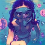 1girl bikini black_hair blue_eyes diving_mask goggles highres honzawa_yuuichirou jellyfish long_hair original snorkel solo swimsuit underwater water