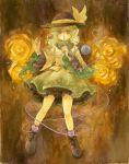 1girl boots bow flower green_eyes green_hair hat hat_bow heart heart_of_string komeiji_koishi rose shiroma_(mamiko) solo touhou yellow_rose