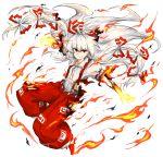 1girl fire fujiwara_no_mokou kan_(aaaaari35) long_hair red_eyes solo suspenders torn_clothes torn_sleeves touhou white_hair