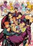 anchor_symbol black_hair blonde_hair braid brown_hair crazy_diamond dixie_cup_hat double_bun fingerless_gloves gakuran giorno_giovanna gloves gold_experience green_eyes grin hat heart higashikata_jousuke higashikata_jousuke_(jojolion) horseshoe johnny_joestar jojo_no_kimyou_na_bouken jojo_pose jonathan_joestar joseph_joestar_(young) kijinkutsu kuujou_jolyne kuujou_joutarou midriff military_hat multicolored_hair navel orange_eyes orange_hair peace_symbol pose purple_hair sailor scarf school_uniform single_braid smile soft_&_wet stand_(jojo) star star_platinum stone_free striped striped_scarf triangle tusk_(stand) two-tone_hair violet_eyes