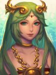1girl artist_name bellhenge green_eyes green_hair hair_ornament highres jewelry kid_icarus kid_icarus_uprising long_hair looking_at_viewer palutena smile solo solo_focus