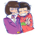 2boys arm_around_shoulder brown_hair buck_teeth closed_eyes facial_hair formal hood hoodie iyami male_focus matsuno_osomatsu multiple_boys mustache osomatsu-kun osomatsu-san purple_suit smile suit tsubuta_hiro upper_body v