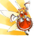1girl ascot blonde_hair blue_eyes capelet fairy_wings fang frills headdress highres kan_(aaaaari35) solo sunny_milk touhou wide_sleeves wings