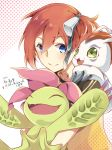 1girl aiba_ami artist_request blue_eyes closed_eyes dated digimon digimon_story:_cyber_sleuth fang gomamon green_eyes highres palmon redhead shirt short_sidetail smile t-shirt