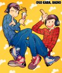 2boys backwards_hat baseball_cap blue_eyes brothers brown_hair character_name cup denim drinking_glass floating hand_in_pocket hat heart heart_in_mouth highres jeans long_sleeves male_focus matsuno_karamatsu matsuno_osomatsu multiple_boys o2_(o2mm) one_eye_closed osomatsu-kun osomatsu-san pants patterned_background red_eyes salute shoes siblings simple_background sneakers two-finger_salute wine_glass yellow_background